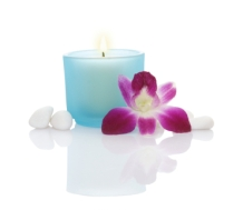 Candles, Orchid and Some White Pebbles